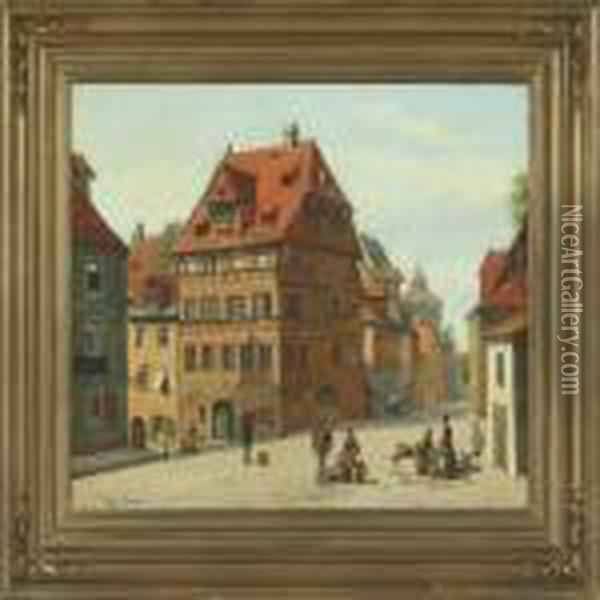 Scenery From A German City Oil Painting - August Fischer