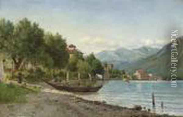 Summer At Lake Lugano Oil Painting - August Fischer