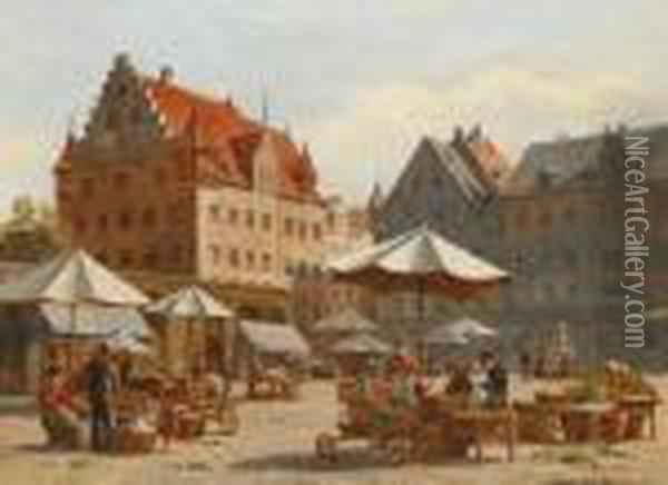 Markt In Nurnberg Oil Painting - August Fischer