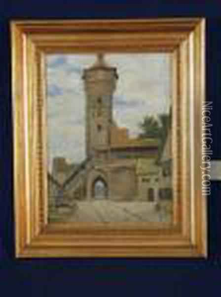 Turm In Rothenburg Oil Painting - August Fischer