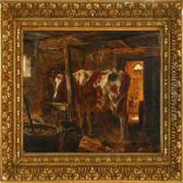 In The Stable Oil Painting - August Fischer