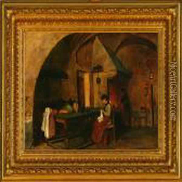 A Scullery Interior Oil Painting - August Fischer