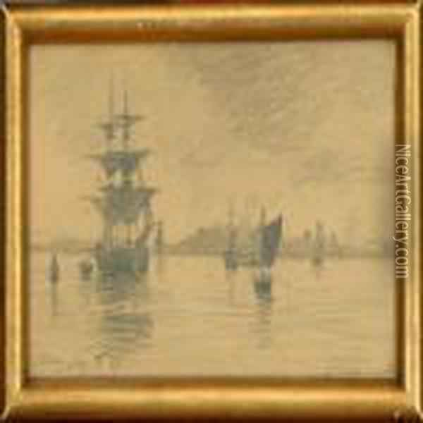 Ships Off Goteborg, Scenery From Riva And A Norwegian Landscape Oil Painting - August Fischer
