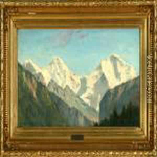 Jungfraujoch In Switzerland. Signed And Dated Aug. Fischer 87 Oil Painting - August Fischer