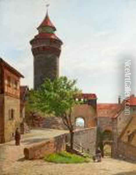 People In A South European Town Scenery With A Round Tower. Signed Aug. Fischer 99 Oil Painting - August Fischer