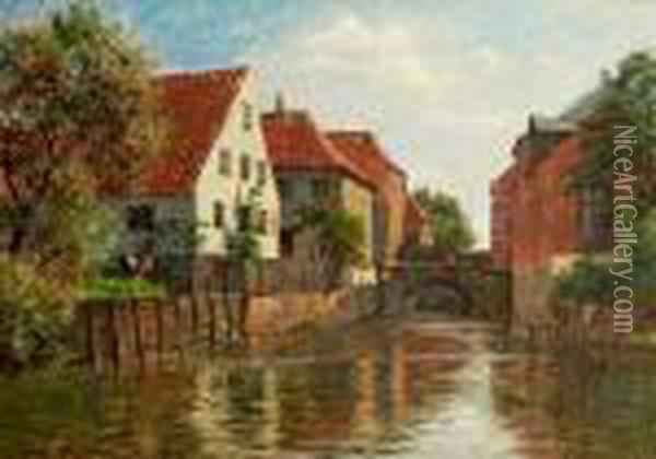 A Canal Scenery From The Town Of Ribe. Signed Aug. Fischer Oil Painting - August Fischer
