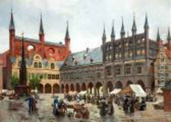 View From The Market Place In Lubeck. Signed Aug. Fischer