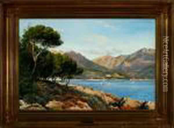 Summer Coastal Scenery From Menton In Southern France Oil Painting - August Fischer