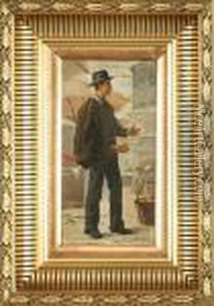 An Italien Gentleman At The Market Oil Painting - August Fischer