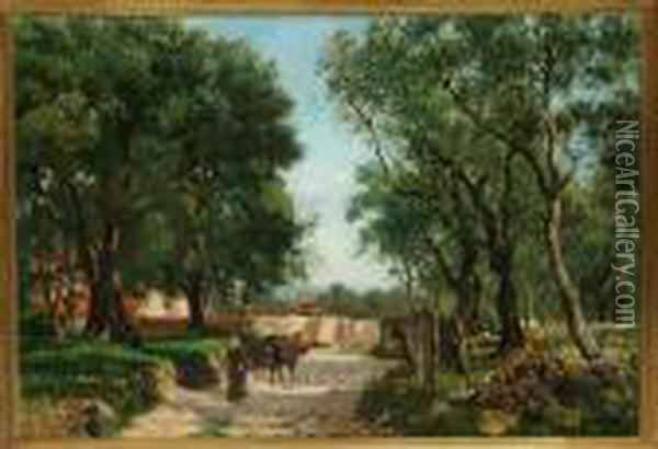 An Italian Country Woman Is Driving A Donkey Into A Grove Oil Painting - August Fischer