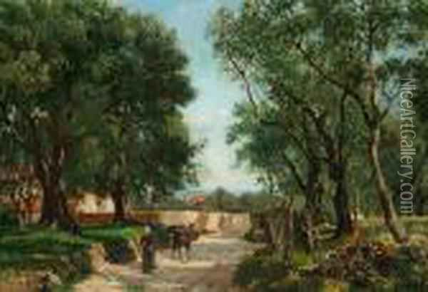 An Italian Country Woman Driving A Donkey Into A Grove Oil Painting - August Fischer