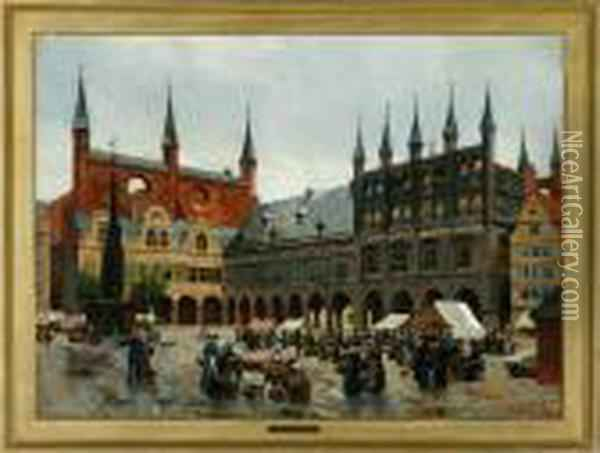 The Square In Lubeck Oil Painting - August Fischer