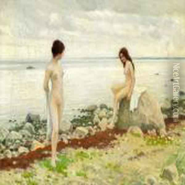 Two Girls On The Beach Oil Painting - Paul-Gustave Fischer