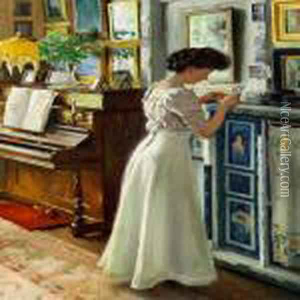 The Artist's Wife Dagny In The Living Room Oil Painting - Paul-Gustave Fischer
