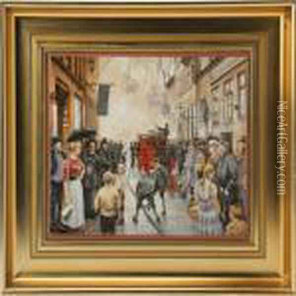 Six Porcelain Plaques With Printed Decorations Incolours Oil Painting - Paul-Gustave Fischer