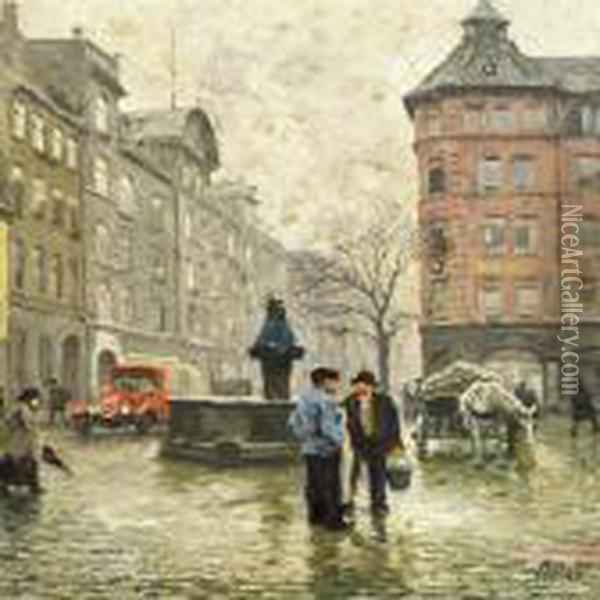 View Of The Fountain With The Lion Heads At Vandkunsten Incopenhagen Oil Painting - Paul-Gustave Fischer