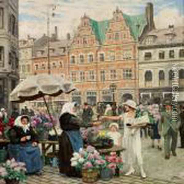 From Hojbro Plads (square) Oil Painting - Paul-Gustave Fischer