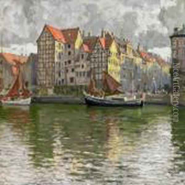 Scenery From Christianshavn Canal, Copenhagen, With The Laterdemolished Buildings Oil Painting - Paul-Gustave Fischer