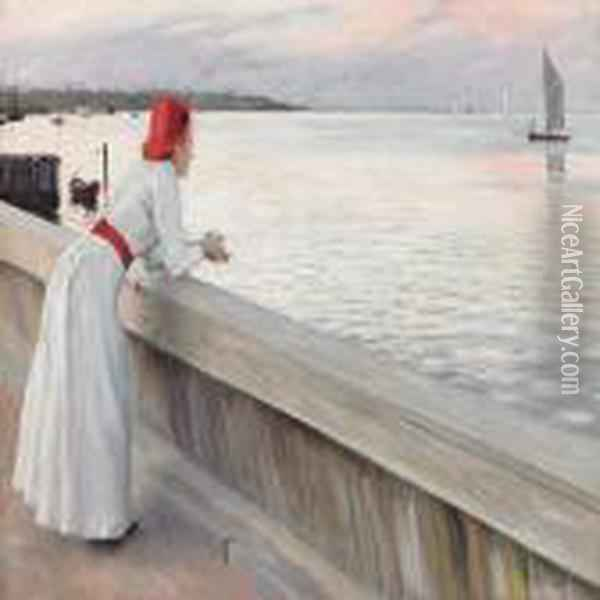 A Young Woman Watchingthe Sea In The Evening Sun Oil Painting - Paul-Gustave Fischer