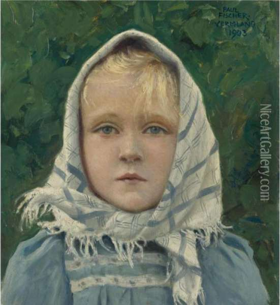 Portrait Of A Young Girl Oil Painting - Paul-Gustave Fischer