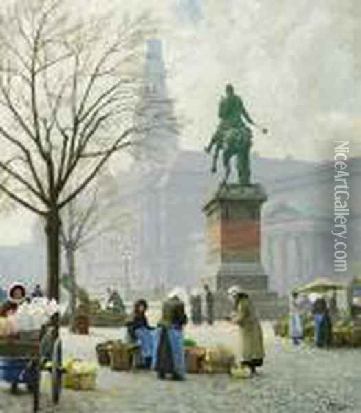 Springtime, Tulips For Sale At Hojbro Plads Oil Painting - Paul-Gustave Fischer