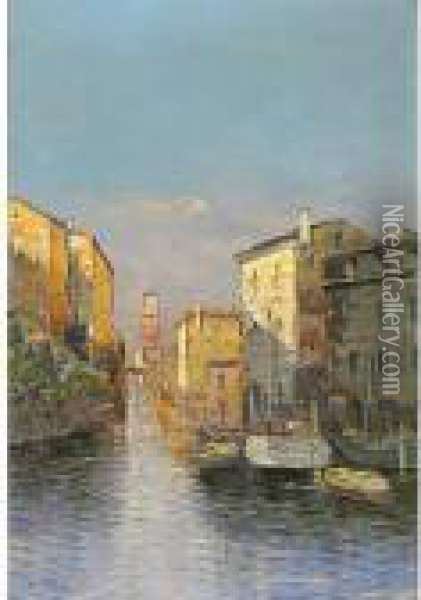 Canale Oil Painting - Georg Fischof