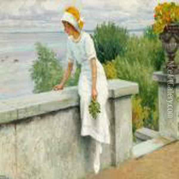 Young Woman In A White Dress By The Seaside Oil Painting - Paul-Gustave Fischer