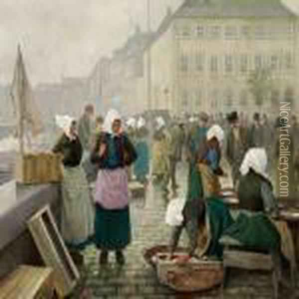 Fishwifes At Gammel Strand Oil Painting - Paul-Gustave Fischer