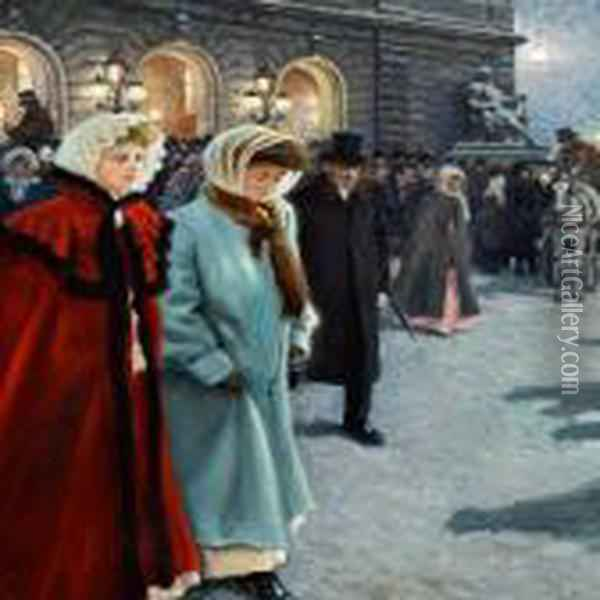 After The Play Outside The Royal Theatre Oil Painting - Paul-Gustave Fischer