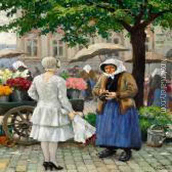 A Young Woman At The Market 1n Hojbro Plads In Copenhagen Oil Painting - Paul-Gustave Fischer