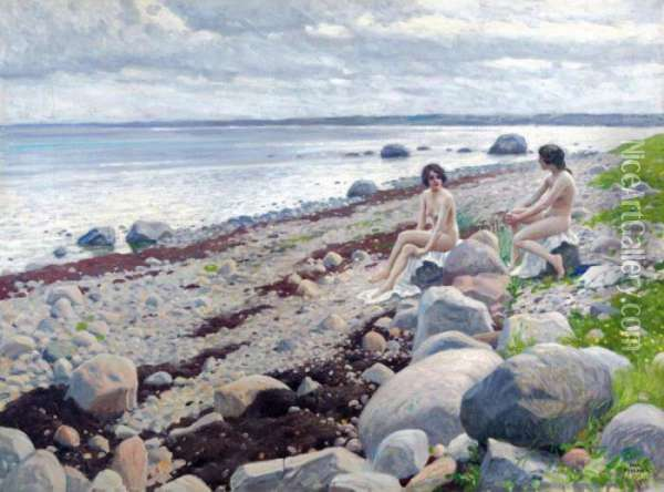 Nudes Bathing On A Beach Oil Painting - Paul-Gustave Fischer