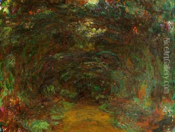 The Path Under The Rose Trellises Giverny2 Oil Painting - Claude Oscar Monet