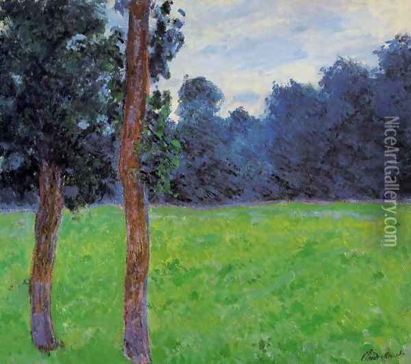 Two Trees In A Meadow Oil Painting - Claude Oscar Monet