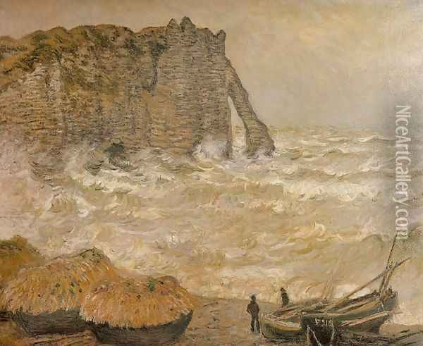 Rough Sea, Etretat (La Porte d'Aval) Oil Painting - Claude Oscar Monet