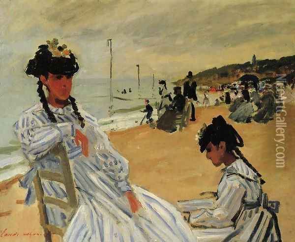 On The Beach At Trouville Oil Painting - Claude Oscar Monet
