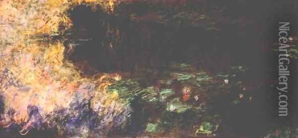 Reflections of Clouds on the Water-Lily Pond (tryptich, right panel) Oil Painting - Claude Oscar Monet
