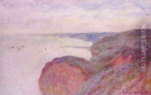 On The Cliff Near Dieppe Overcast Skies Oil Painting - Claude Oscar Monet