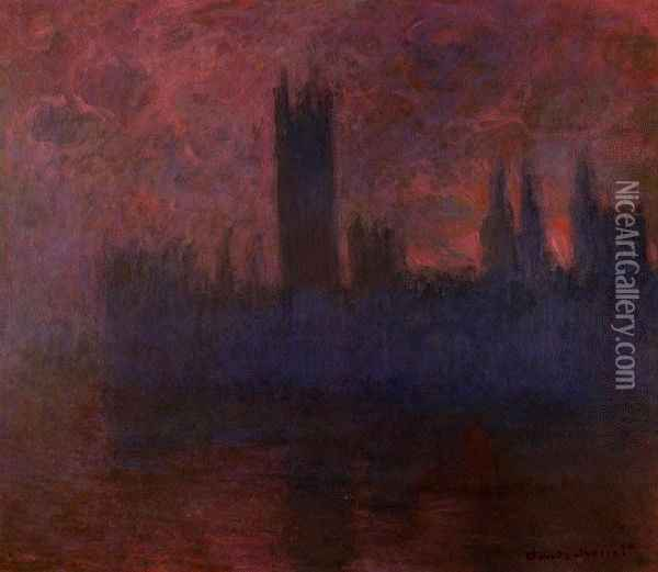Houses of Parliament, London, Symphony in Rose Oil Painting - Claude Oscar Monet