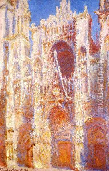 Rouen Cathedral, the Portal in the Sun Oil Painting - Claude Oscar Monet