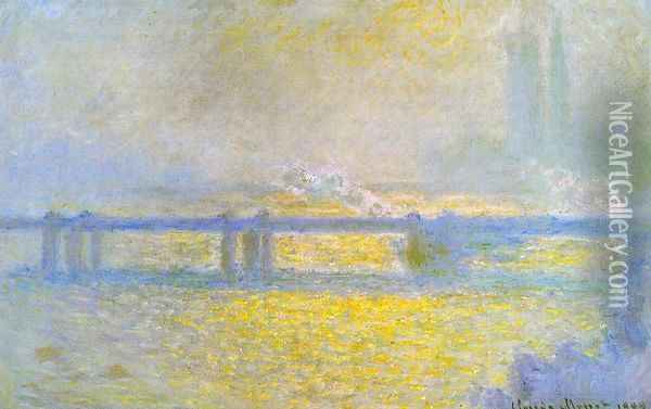 Charing Cross Bridge, Overcast Weather Oil Painting - Claude Oscar Monet