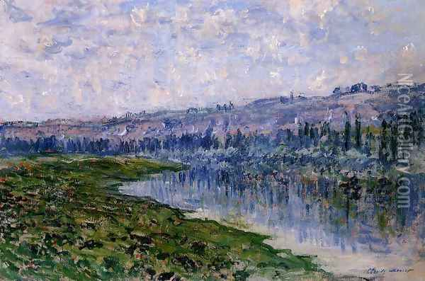The Seine And The Chaantemesle Hills Oil Painting - Claude Oscar Monet