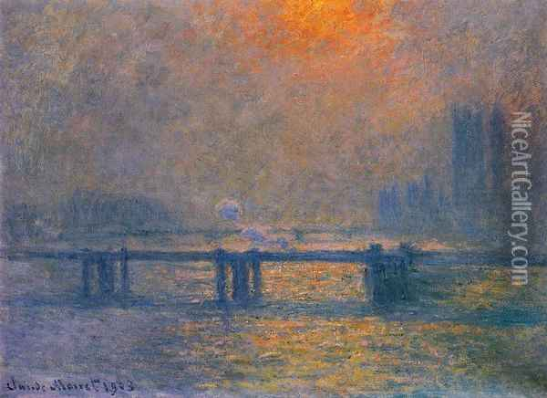 Charing Cross Bridge, The Thames I Oil Painting - Claude Oscar Monet