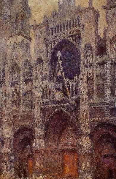 Rouen Cathedral The Portal Grey Weather Oil Painting - Claude Oscar Monet