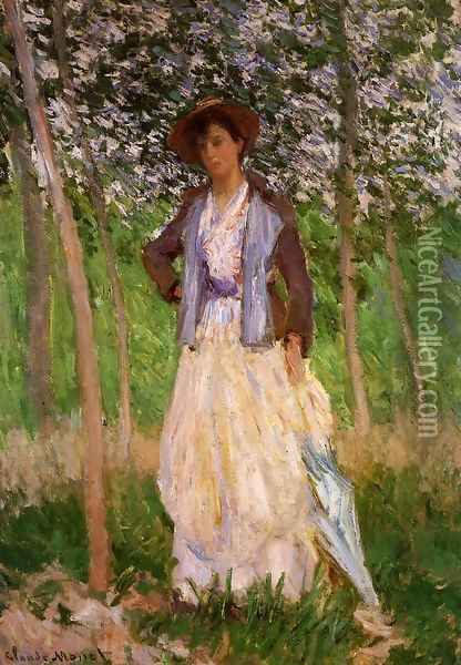 The Stroller (Suzanne Hischede) Aka Taking A Walk Oil Painting - Claude Oscar Monet