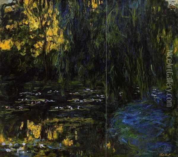 Weeping Willow and Water-Lily Pond (detail) Oil Painting - Claude Oscar Monet