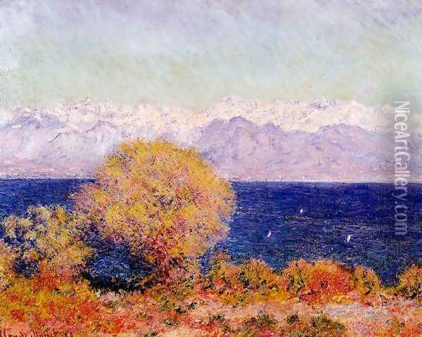 View Of Cap D Antibes Aka View Of The Bay And Maritime Alps At Antibes Oil Painting - Claude Oscar Monet
