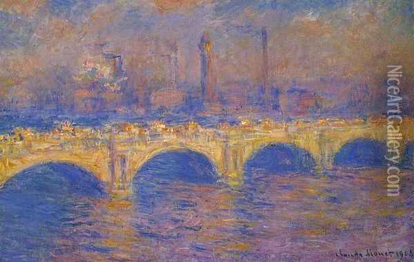 Waterloo Bridge, Sunlight Effect III Oil Painting - Claude Oscar Monet