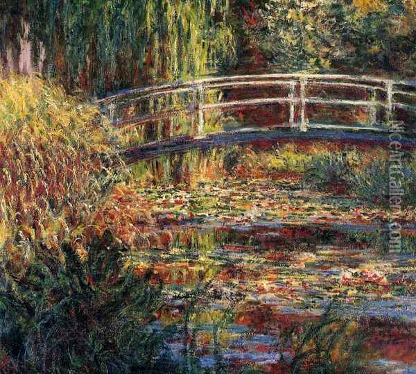 Water-Lily Pond, Symphony in Rose Oil Painting - Claude Oscar Monet