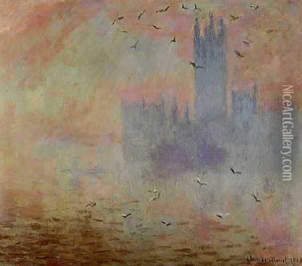 Houses of Parliament, Seagulls Oil Painting - Claude Oscar Monet