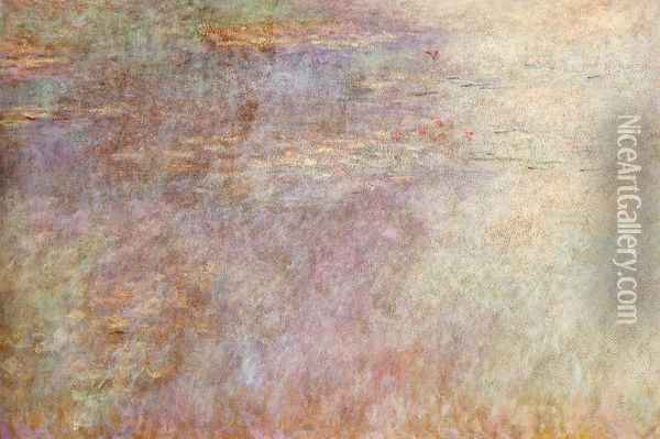 Water-Lillies Pond (left half) Oil Painting - Claude Oscar Monet